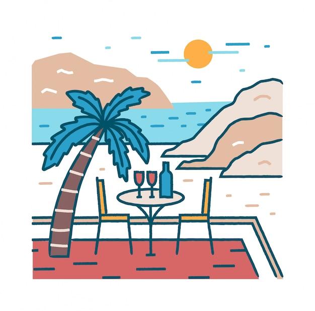 Paysage avec table de restaurant romantique et verres de vin sur une plage exotique contre l'océan, les falaises et le soleil
