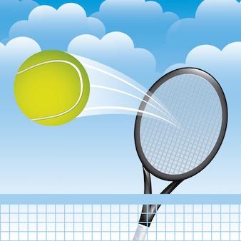 Paysage de tennis au cours de l'illustration vectorielle fond ciel