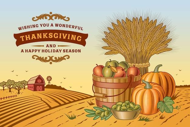 Paysage de thanksgiving vintage