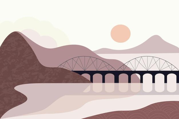 Paysage tons bruns ciel montagnes rivière mer pont style minimaliste dessiné à la main panorama