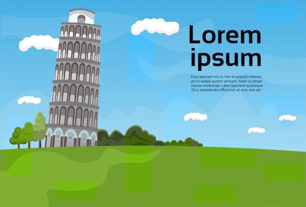 Paysage de la tour de pise vue célèbre sur l'italie