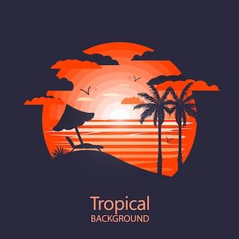 Paysage tropical chaud. chaise longue et palmiers près de la plage