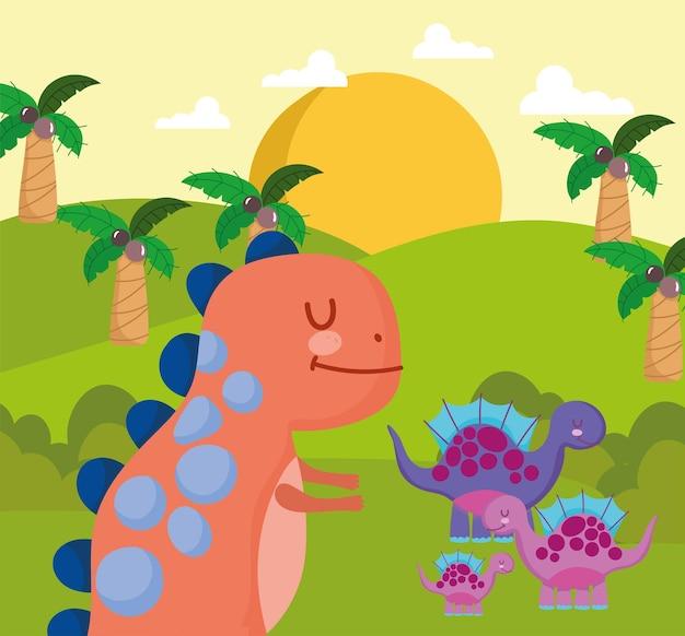 Paysage tropical avec des dinosaures