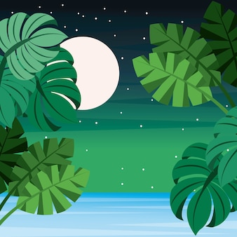 Paysage tropical laisse palm mer pleine lune étoilé