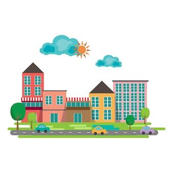 Paysage urbain au design plat. petite ville. illustration vectorielle