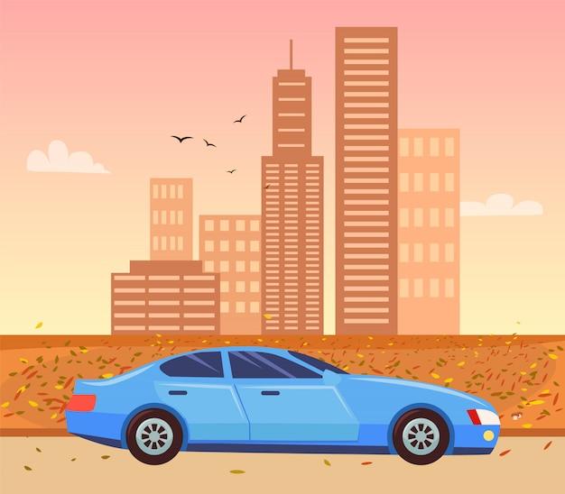 Paysage urbain en automne et voiture riding sur le vecteur de route