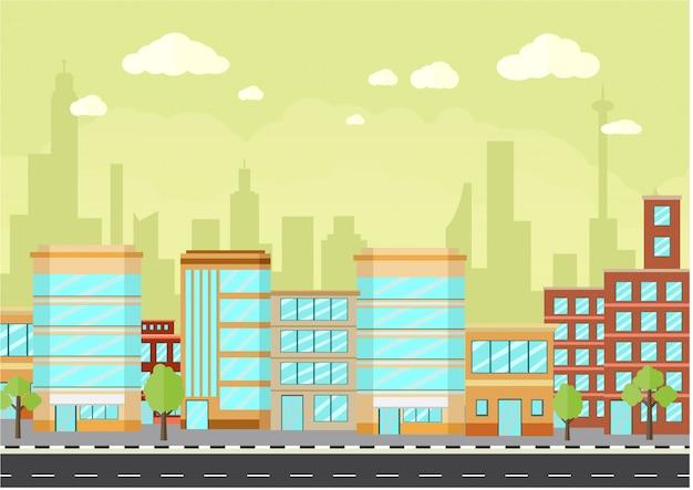 Paysage urbain avec bâtiments contemporains et route