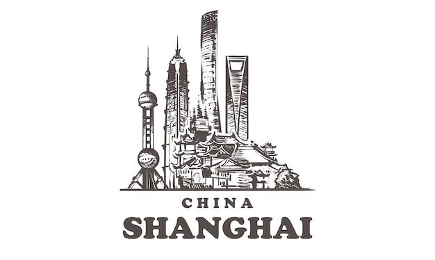 Paysage urbain de croquis de shanghai isolé sur blanc