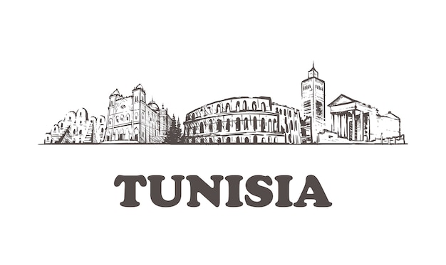 Paysage urbain de croquis de tunisie isolé sur blanc