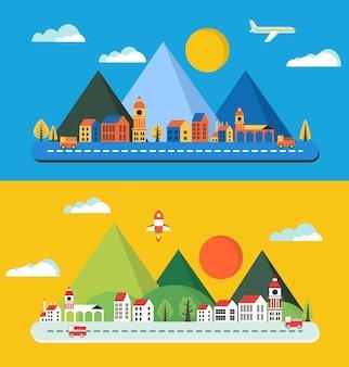 Paysage urbain dans le style d'une ville plate, bâtiments de la ville