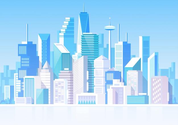 Paysage urbain avec différents bâtiments. maisons privées, chalet. centre de bureaux. maison de magasin. quartier général.