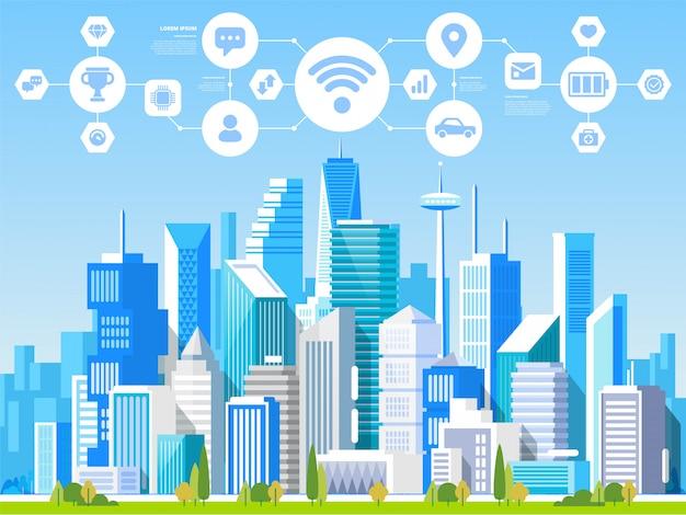 Paysage urbain avec différents bâtiments.