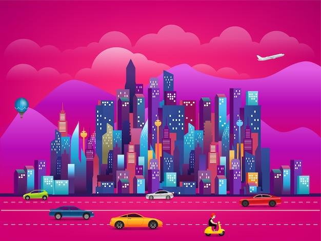 Paysage urbain du matin avec route de la ville et centre-ville