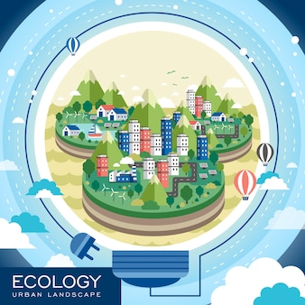 Paysage urbain d'écologie créative dans un style plat