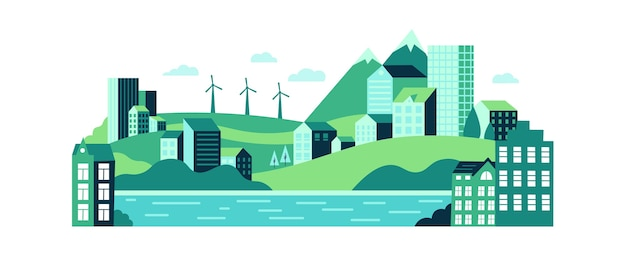 Paysage urbain écologique avec des bâtiments, des collines et des montagnes.