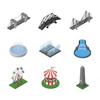 Paysage urbain d'éléments isométriques