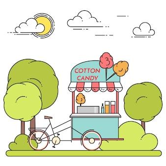 Paysage urbain de l'été avec vélo coton barbe à papa dans le parc central. illustration vectorielle dessin au trait. concept pour la construction, le logement, le marché immobilier, la conception d'architecture, bannière d'investissement immobilier, carte
