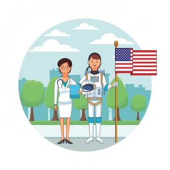 Paysage urbain femme médecin et astronaute icône ronde