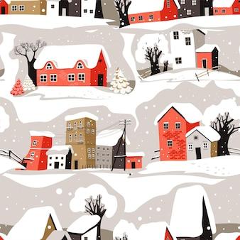 Paysage urbain d'hiver avec maisons et bâtiments