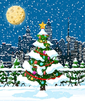 Paysage urbain d'hiver de noël, flocons de neige et arbres. ruelle et bâtiments du parc de la ville. joyeux noël