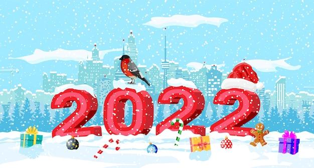 Paysage urbain d'hiver de noël, flocons de neige et arbres.