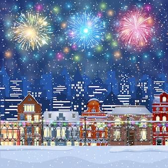 Paysage urbain d'hiver de noël