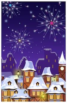 Paysage urbain d'hiver avec les toits des maisons et des feux d'artifice dans le ciel nocturne