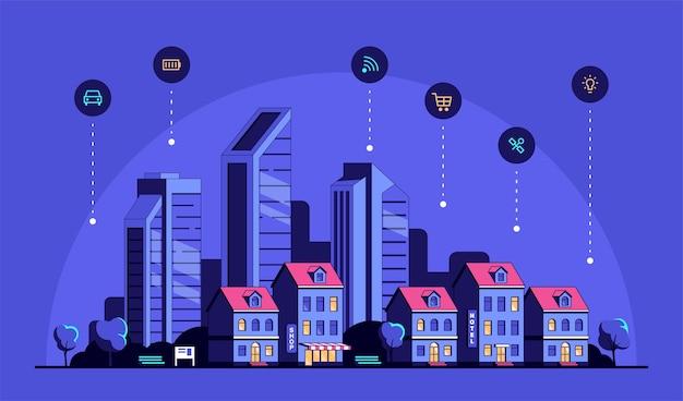 Paysage urbain avec des maisons d'habitation modernes et des icônes.