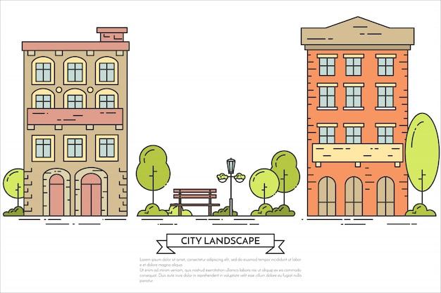 Paysage urbain avec maisons, parc public central.
