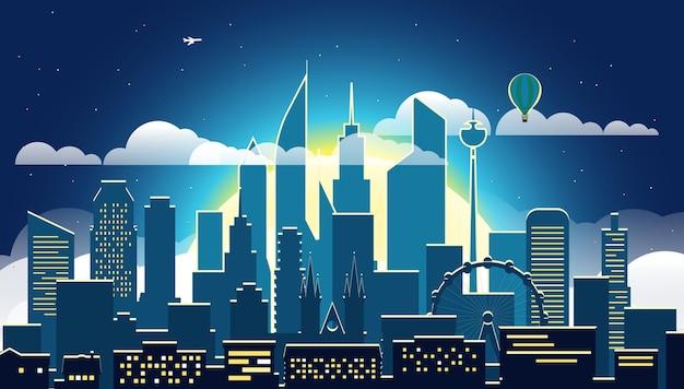 Paysage urbain moderne dans la soirée, illustartion scène de grande ville