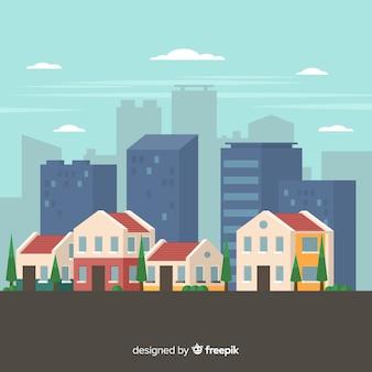 Paysage urbain moderne avec un design plat