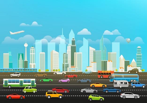 Paysage urbain moderne avec gratte-ciels et différents véhicules
