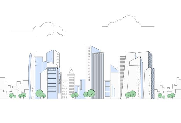 Paysage urbain moderne de la ville de mégalopolis avec vue sur les gratte-ciel
