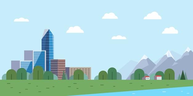 Paysage urbain et montagnes