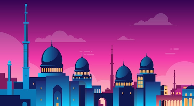 Paysage urbain musulman nabawi mosque building religion night view