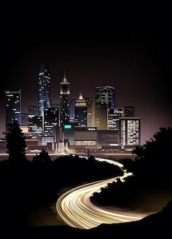 Paysage urbain de nuit réaliste avec des gratte-ciel et une route avec des lumières du mouvement des voitures
