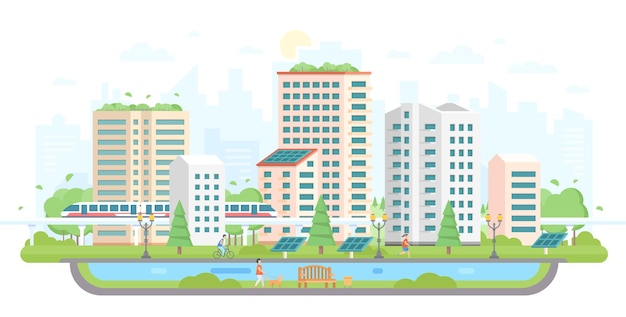 Paysage urbain avec panneaux solaires - illustration vectorielle de style design plat moderne sur fond blanc. beau complexe de logements avec gratte-ciel, train, étang, gens, arbres, lanterne. concept de lieu écologique