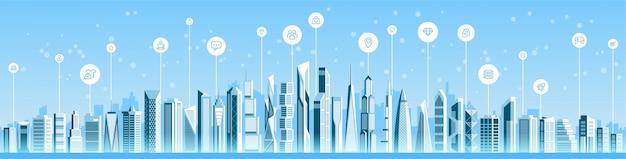 Paysage urbain panoramique de la ville intelligente
