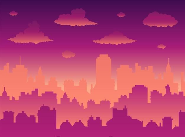 Paysage urbain plat avec ciel coucher de soleil sur la ville et coucher/lever du soleil. fond de vecteur panoramique moderne matin ville skyline. illustration de la tour de la ville urbaine, fond d'écran. silhouette de gratte-ciel.