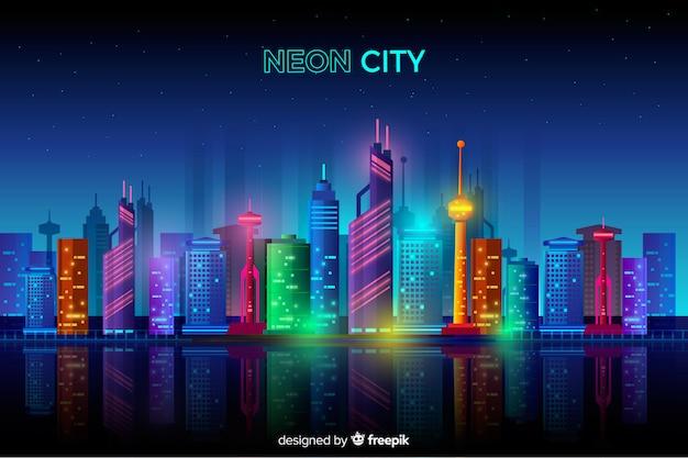 Paysage urbain plat de néon