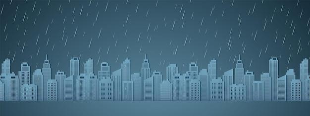 Paysage urbain avec pluie, ciel sombre, saison des pluies, style art papier
