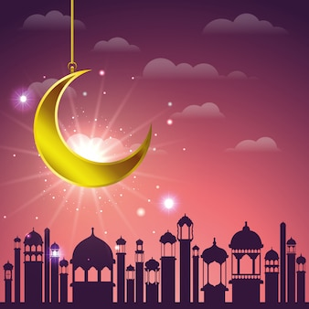 Paysage urbain de ramadan kareem avec la lune dorée suspendue