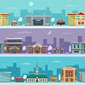 Paysage urbain en saison d'hiver