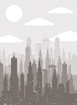 Paysage urbain skyline scène beige silhouette