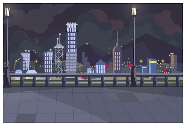 Paysage urbain sombre avec illustration de feux allumés
