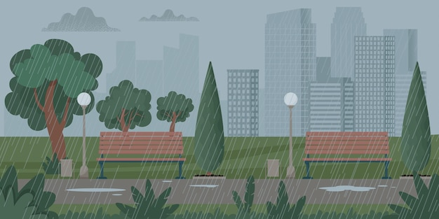 Paysage urbain avec temps de pluie, orage. pluie dans le parc. illustration vectorielle dans un style plat