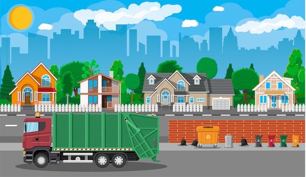 Paysage urbain avec voiture poubelle