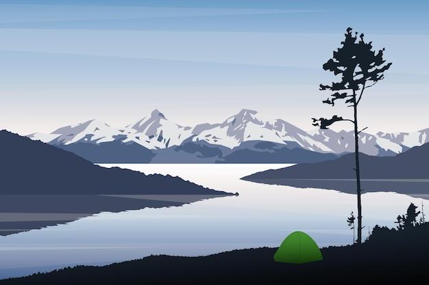 Paysage de vecteur camping dans la nature montagnes rivière matin tente solitaire en plein air sous un grand pin