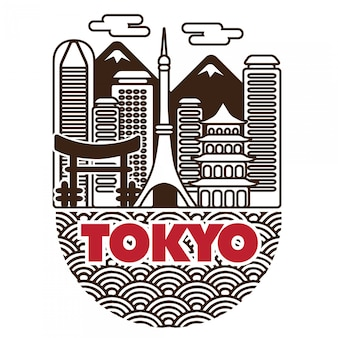 Paysage de vecteur japon tokyo city