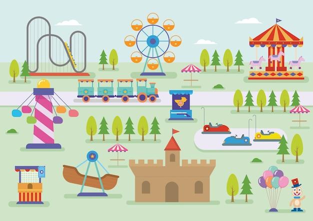 Paysage de vecteur de parc d'attractions
